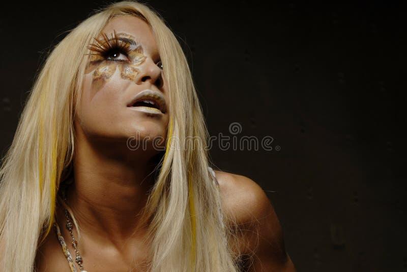 De blonde vrouw in maakt omhoog royalty-vrije stock afbeeldingen
