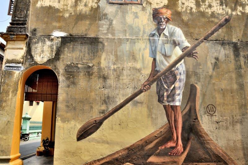 """ de Boatman†d'""""India d'art de rue de Penang photo libre de droits"""