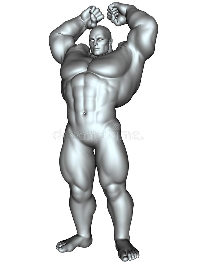 De bodybuilder in actie stelt royalty-vrije illustratie