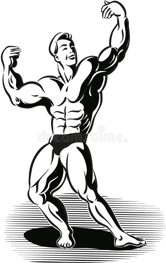 De bodybuilder in een typisch plastiek stelt vector illustratie