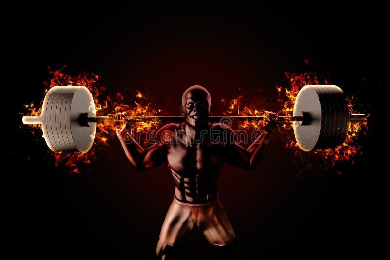 De bodybuilder heft het vlammen op barbell royalty-vrije illustratie