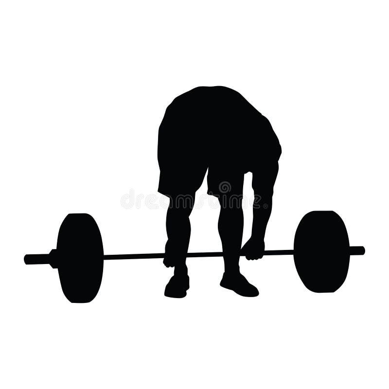De bodybuilder leunt naar een barbell royalty-vrije illustratie