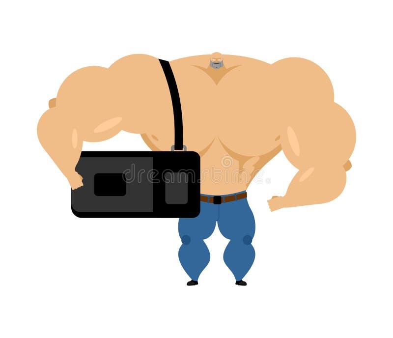 De bodybuilder met sportenzak gaat naar opleiding Grote atelte royalty-vrije illustratie