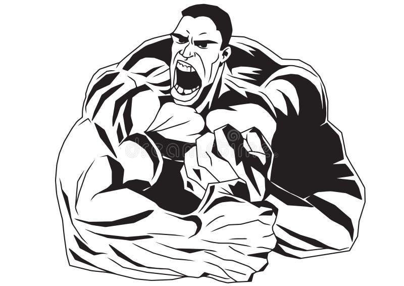 De bodybuilder met zijn handen klemde in vuisten dicht vector illustratie