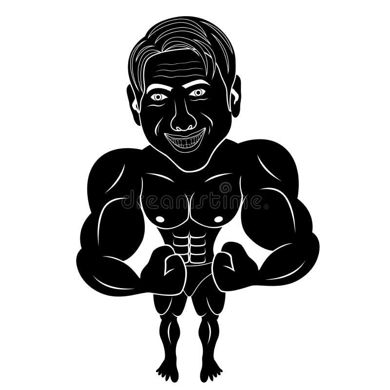 De bodybuilder toont zijn spieren royalty-vrije illustratie