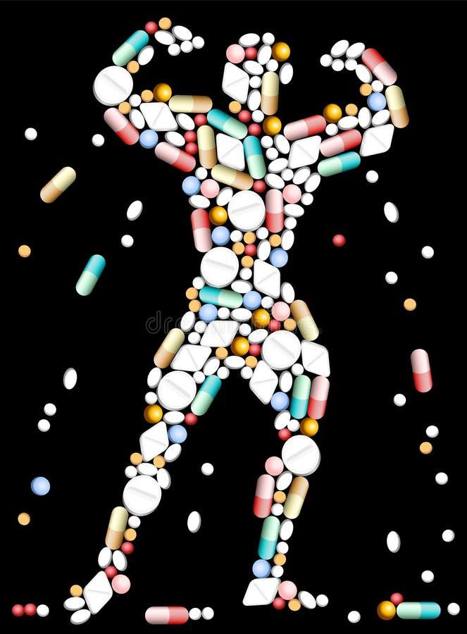 De Bodybuilder van tablettenpillen vector illustratie
