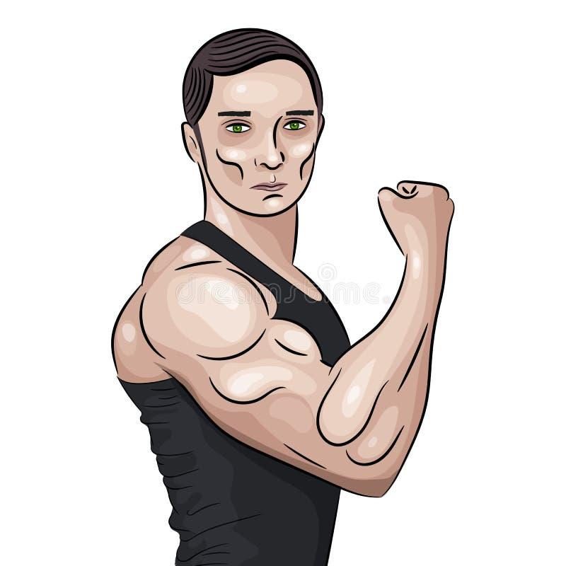 De bodybuilder vooraan dubbele bicepsen stelt royalty-vrije illustratie