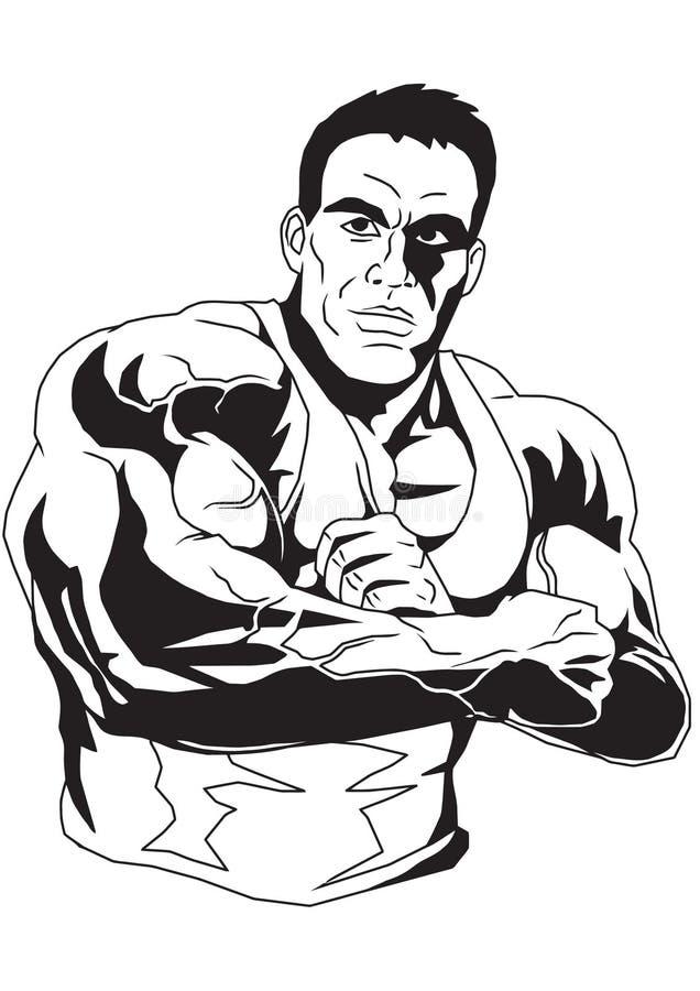 De bodybuilder vouwde zijn handen op zijn borst royalty-vrije illustratie