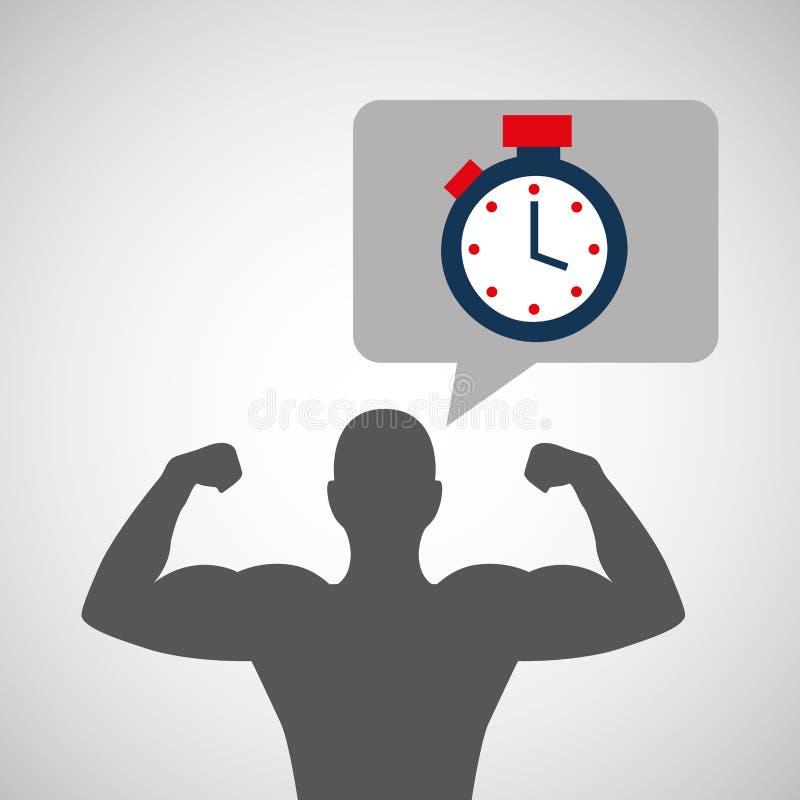 De bodybuilderchronometer van de silhouetmens stock illustratie