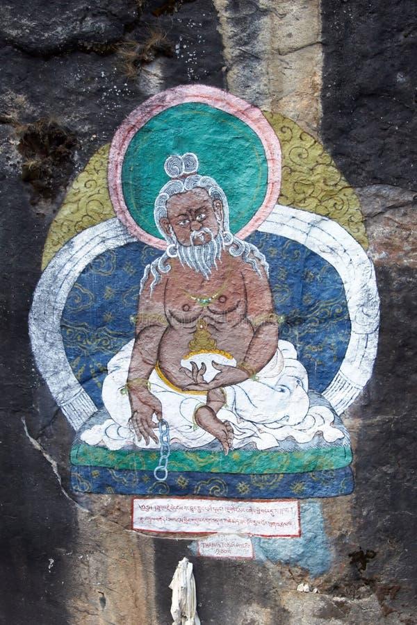De boeddhistische beschermer van heilige van kabelbrug, Nepal royalty-vrije stock foto's