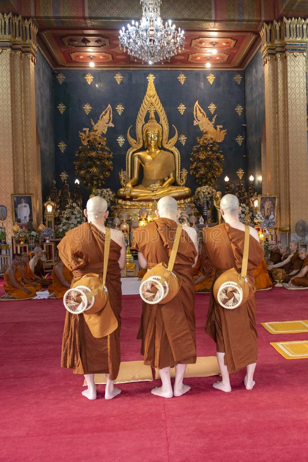 : De boeddhistische ceremonie van de monniksordening bij de tempel in India stock fotografie