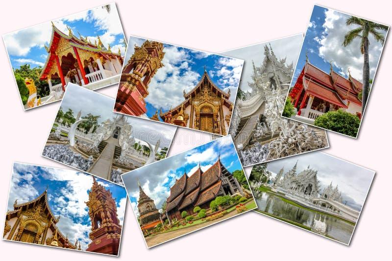 De boeddhistische collage van tempelbeelden stock foto