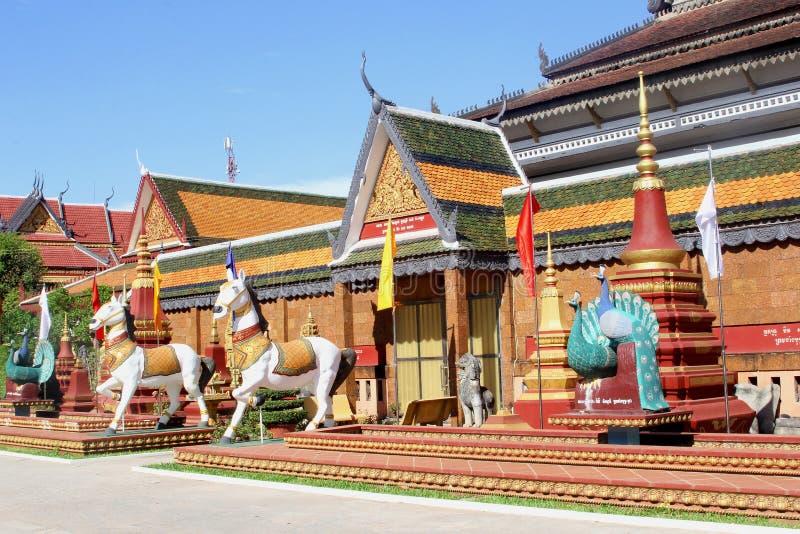 De boeddhistische tempel Wat Preah Prom Rath, Siem oogst stock afbeeldingen