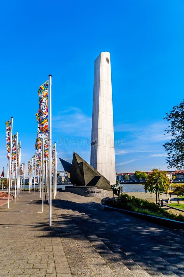 De Boeg The łęku wojenny pomnik w Rotterdam w wspominaniu Handlowej floty żeglarzi które znikali w drugi wojnie światowej fotografia royalty free