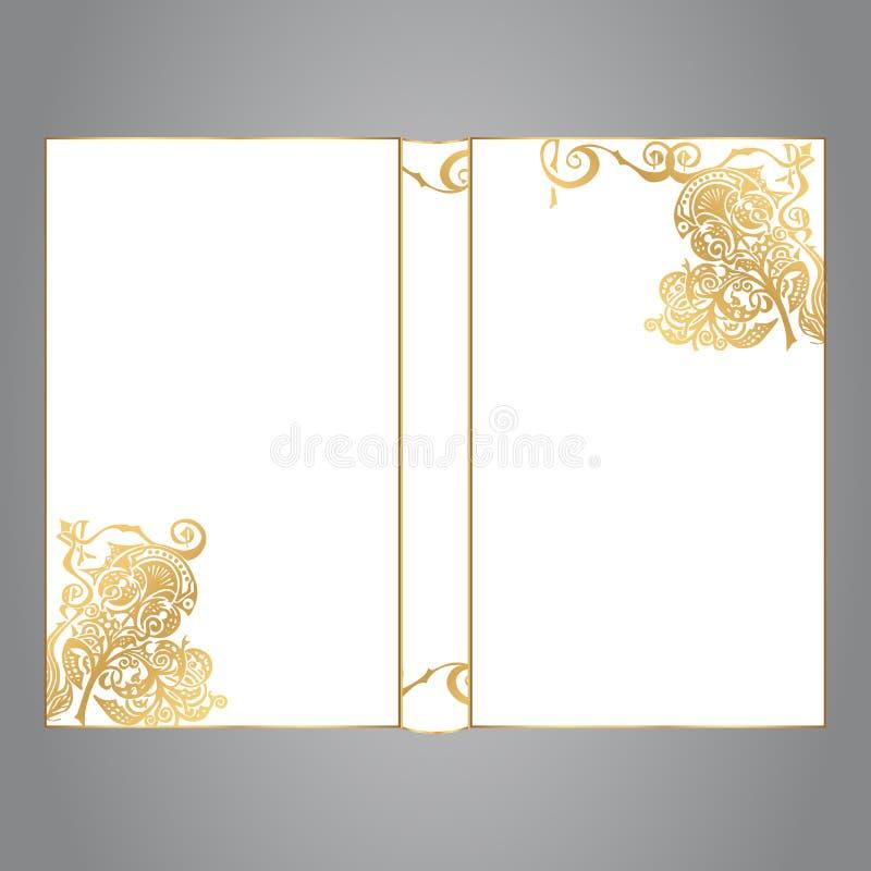 De boekdekking is wit met gouden ornament op een grijze fone stock afbeelding