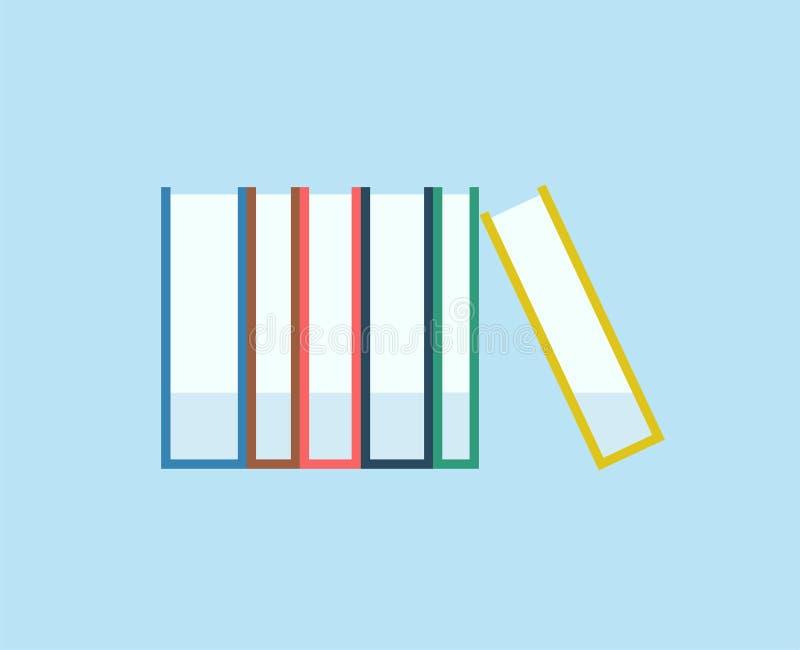 De boeken stapelen vectorpictogram Voorbeeldenboek, pen, potlood en andere apparatuur royalty-vrije illustratie