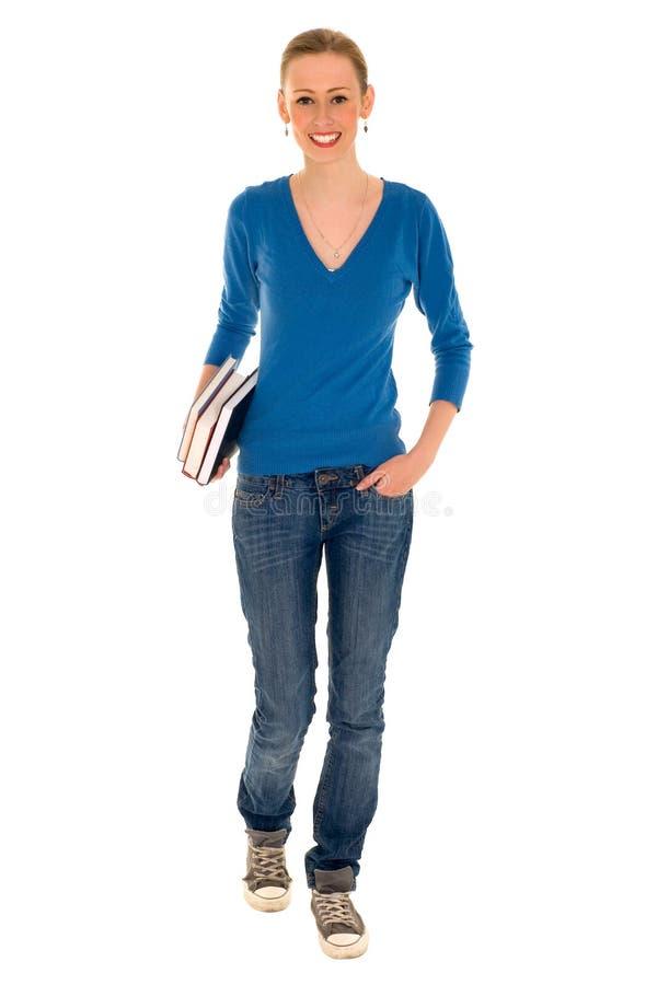 De Boeken van de Holding van het Meisje van de universiteit stock afbeeldingen