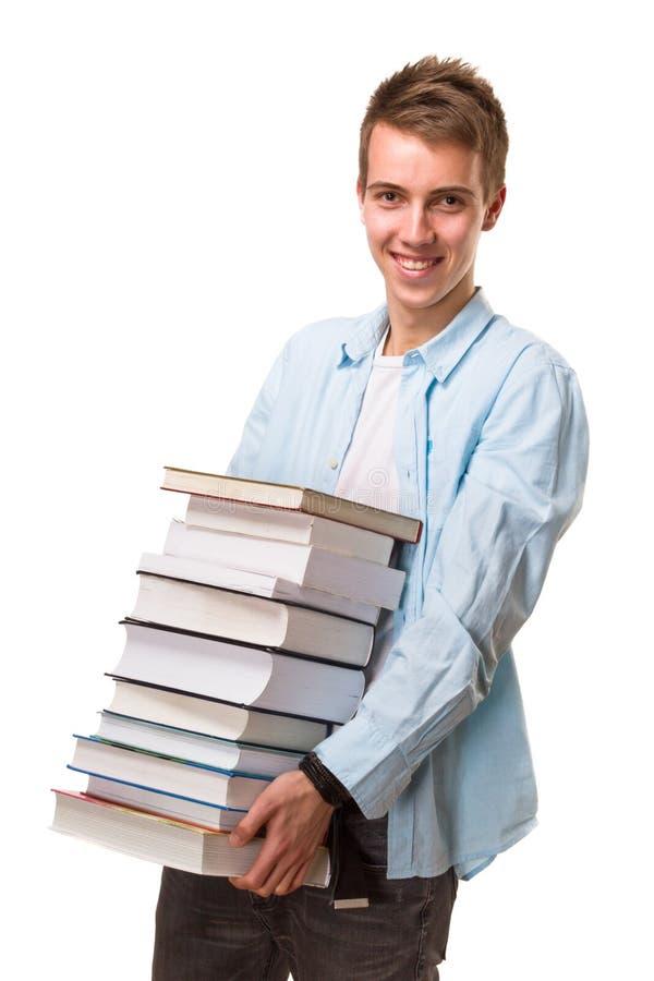 De boeken van de studentenholding royalty-vrije stock afbeelding