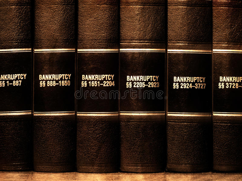 De Boeken van de wet op Faillissement stock fotografie