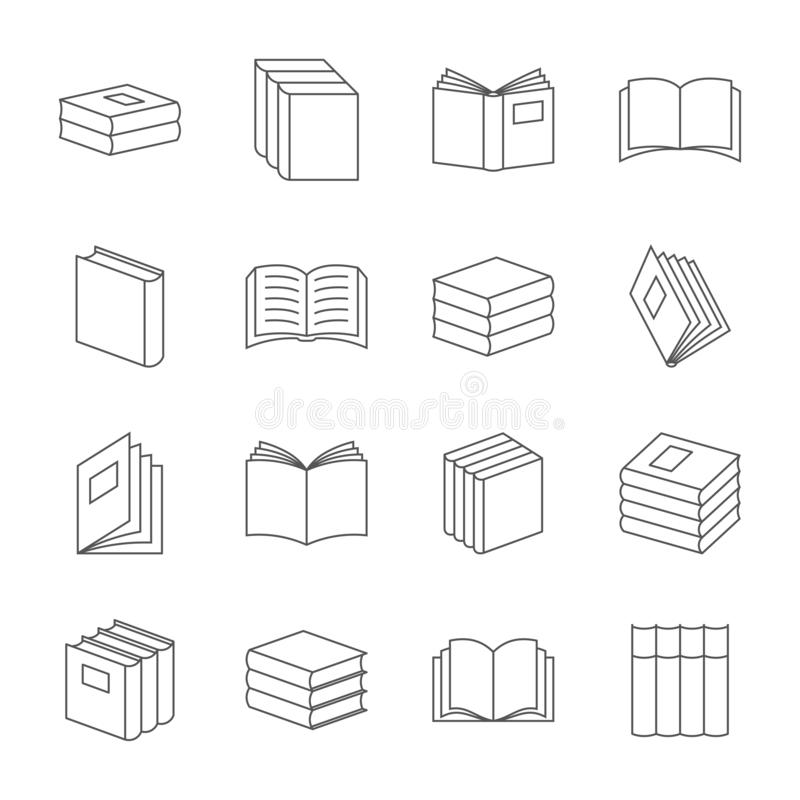 De boeken verdunnen de vector van lijnpictogrammen De tekens van het boekonderwijs, de lineaire symbolen van de handboekliteratuu vector illustratie