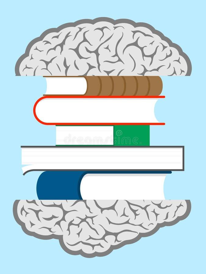 De boekensandwich van hersenen stock illustratie