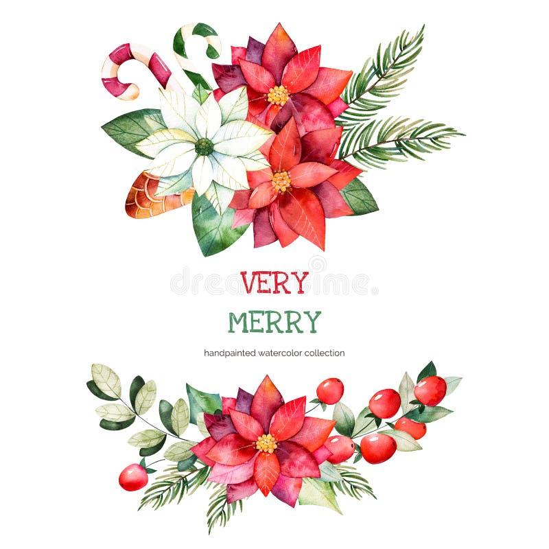 de boeketten met bladeren, takken, Kerstmisballen, bessen, hulst, pinecones, poinsettia bloeit stock illustratie
