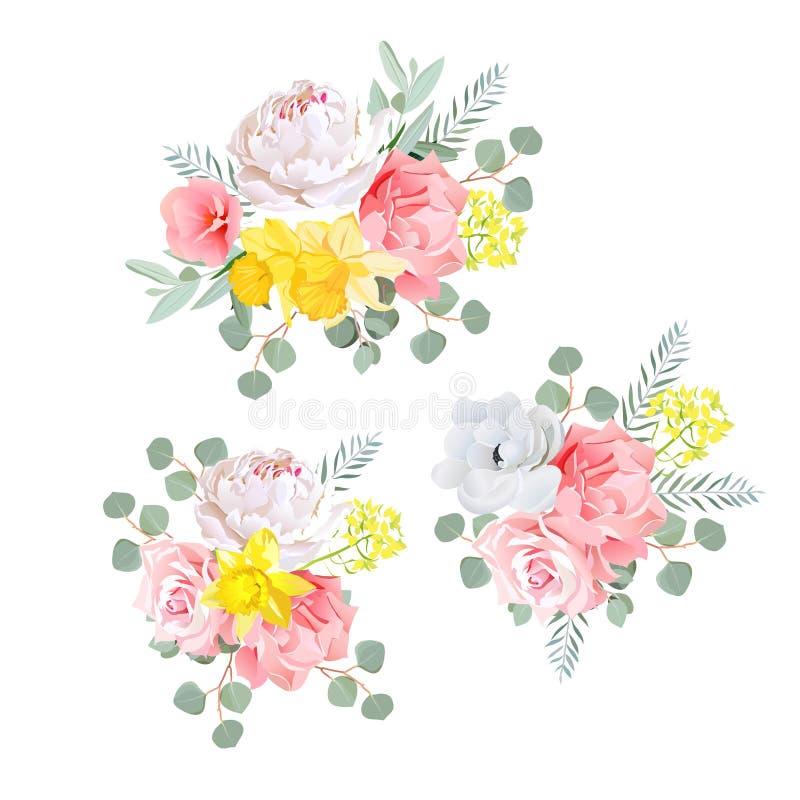 De boeketten van dahlia, namen, narcissen, anemoon, roze bloemen en eucalyptusbladeren toe vector illustratie