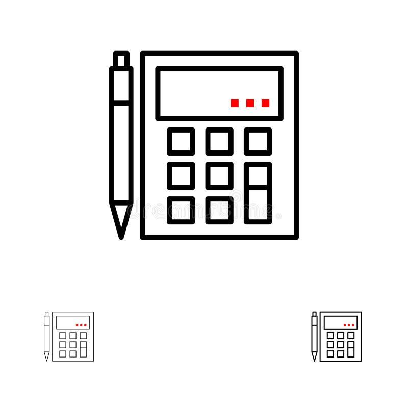 De boekhouding, Rekening, berekent, Berekening, Calculator, Financiële, het pictogramreeks van de Wiskunde Gewaagde en dunne zwar stock illustratie