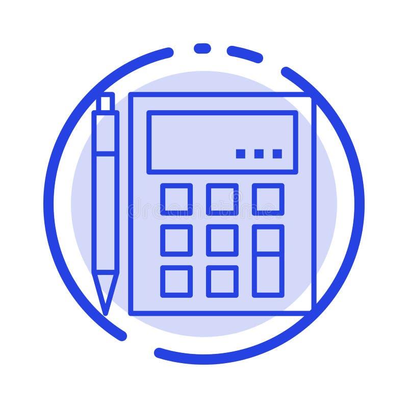 De boekhouding, Rekening, berekent, Berekening, Calculator, Financieel, de Lijnpictogram van de Wiskunde Blauw Gestippelde Lijn royalty-vrije illustratie