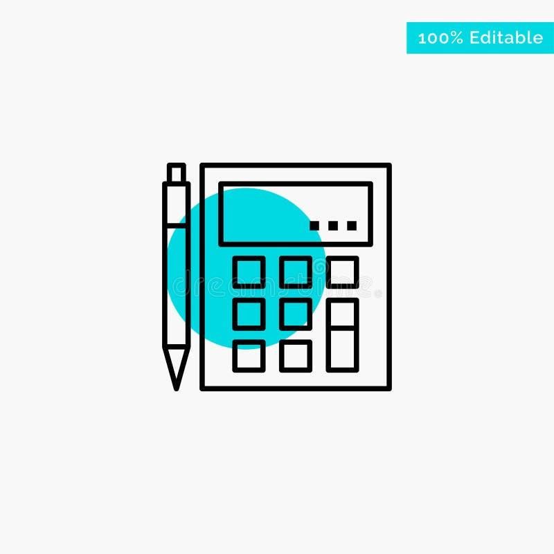 De boekhouding, Rekening, berekent, Berekening, Calculator, Financieel, van het de cirkelpunt van het Wiskunde het turkooise hoog vector illustratie