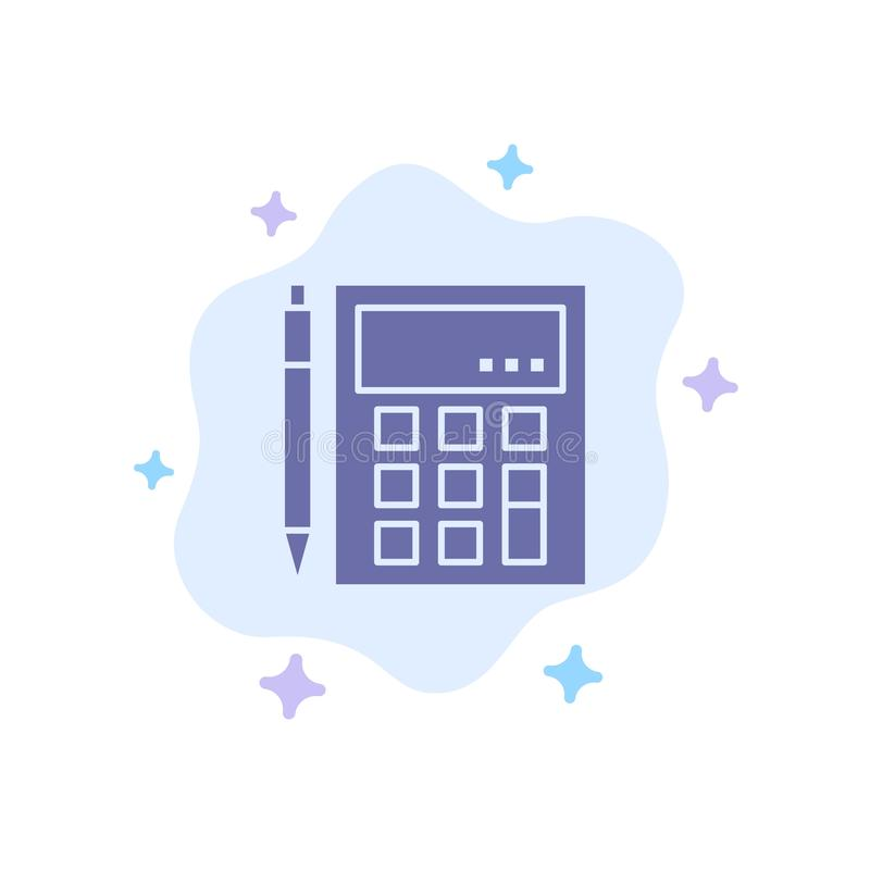 De boekhouding, Rekening, berekent, Berekening, Calculator, Financieel, Wiskunde Blauw Pictogram op Abstracte Wolkenachtergrond royalty-vrije illustratie