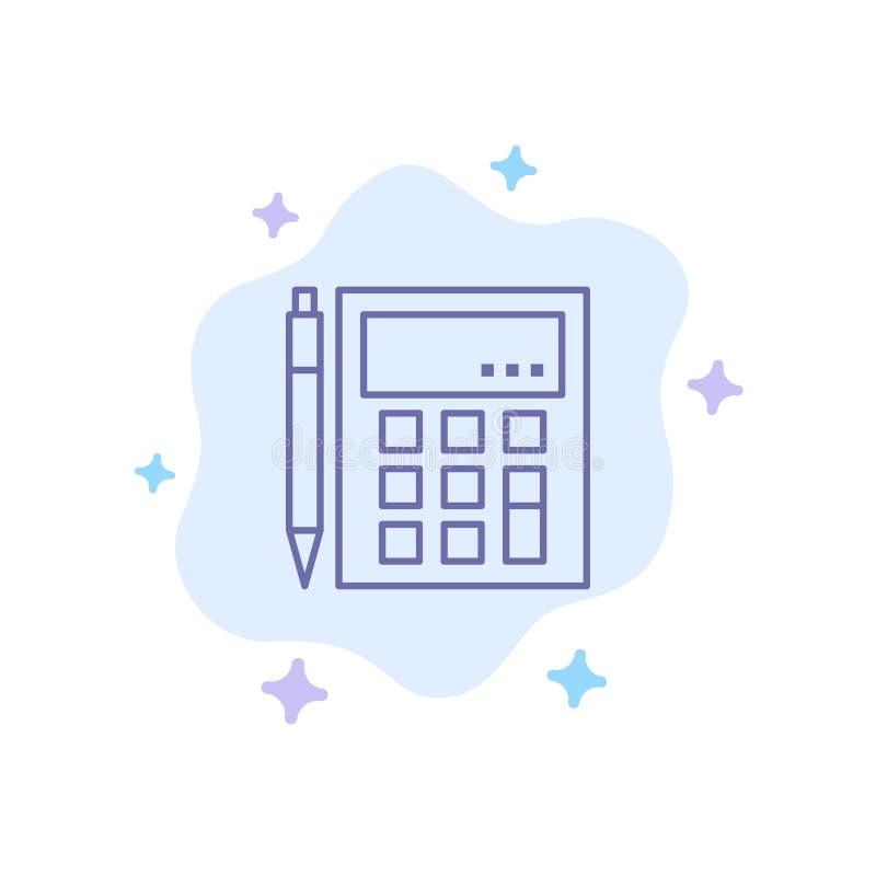 De boekhouding, Rekening, berekent, Berekening, Calculator, Financieel, Wiskunde Blauw Pictogram op Abstracte Wolkenachtergrond stock illustratie