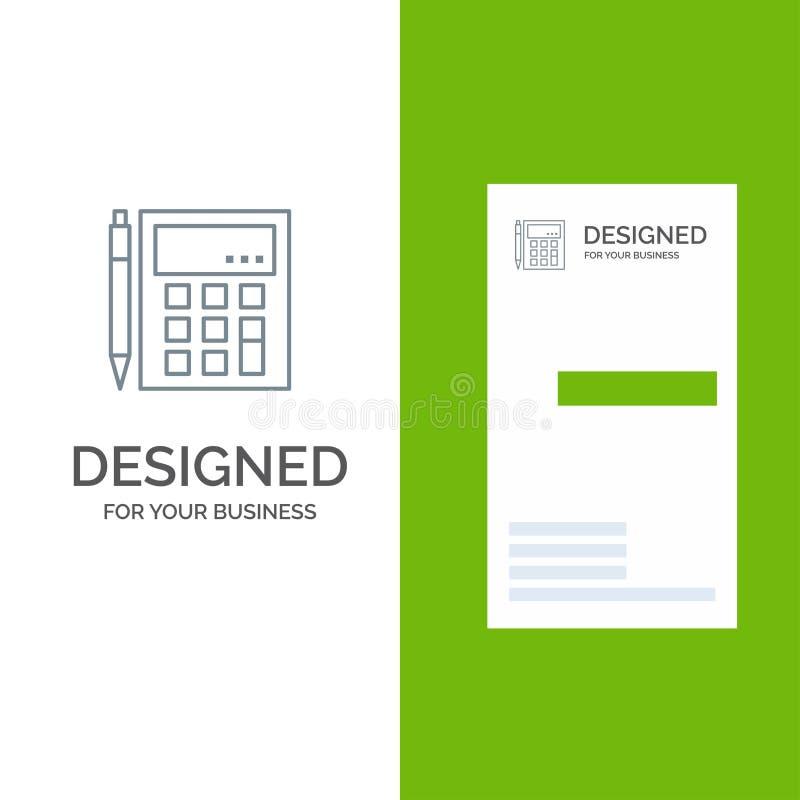 De boekhouding, Rekening, berekent, Berekening, Calculator, Financieel, Wiskunde Grey Logo Design en Visitekaartjemalplaatje vector illustratie