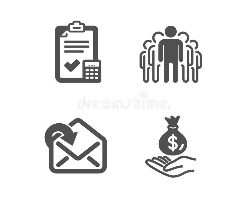 De boekhoudingscontrolelijst, ontvangt post en Groepspictogrammen Het teken van het inkomensgeld Calculator, Binnenkomend bericht royalty-vrije illustratie