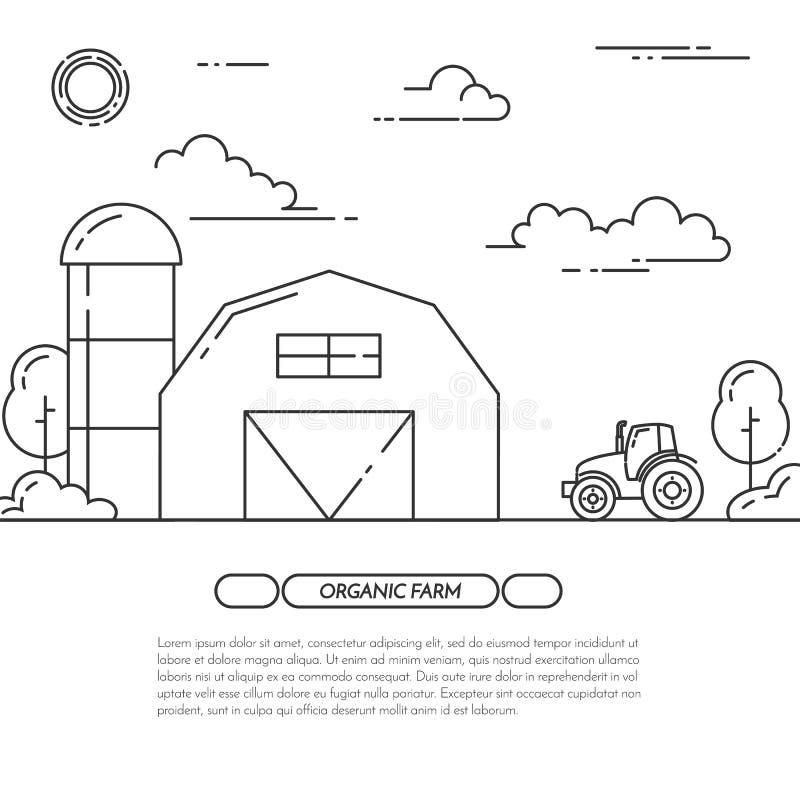 De boerderijbanner voor landbouwproducten adverteert de Vlakke vector van de lijnkunst vector illustratie