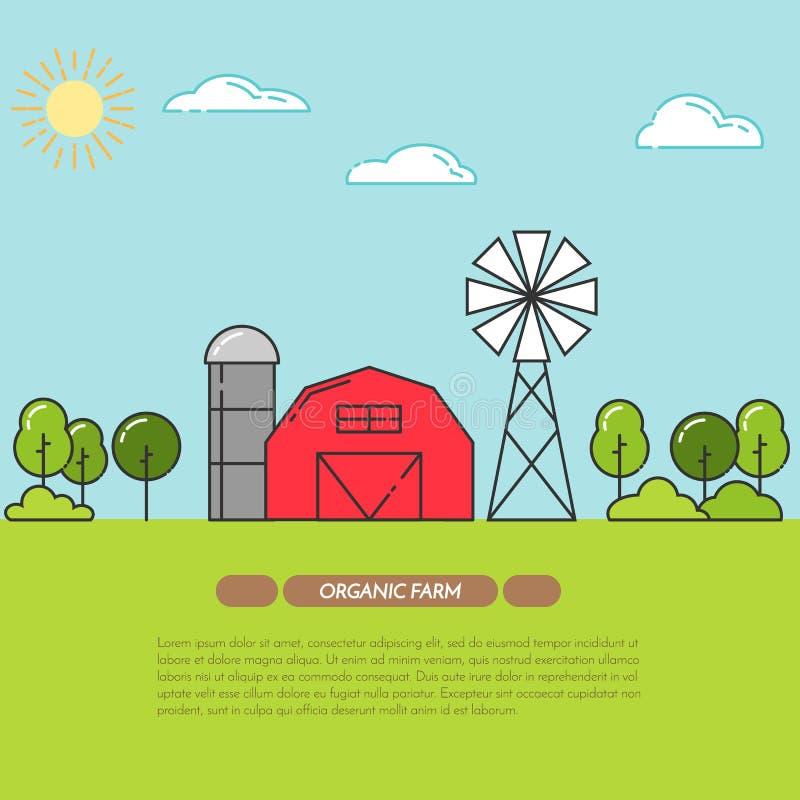De boerderijbanner voor landbouwproducten adverteert Vlakke lineaire vector vector illustratie