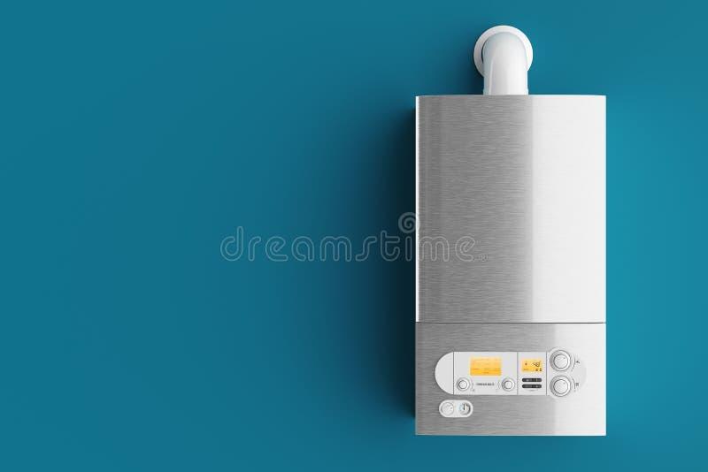 De boiler van het huishoudengas op blauwe 3d achtergrond stock illustratie