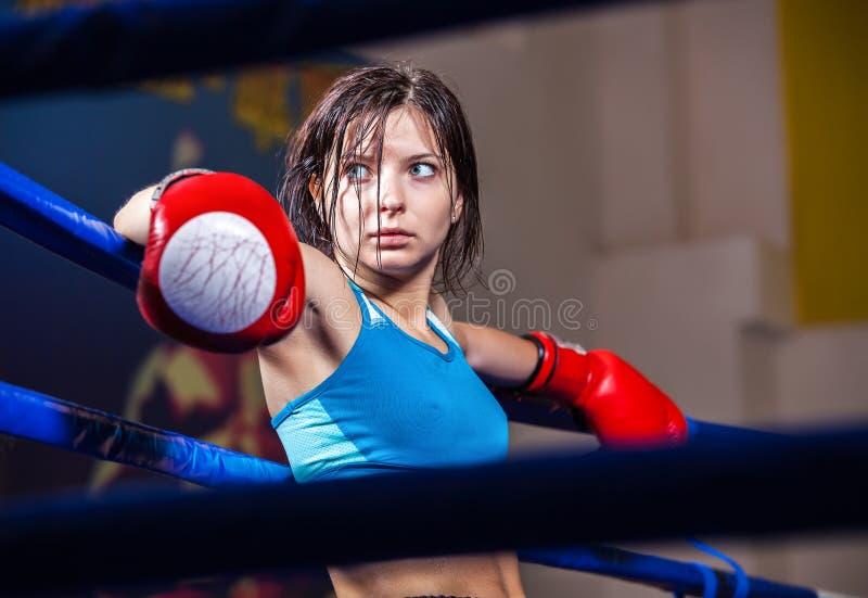 De bokser van het meisje in boksring stock fotografie