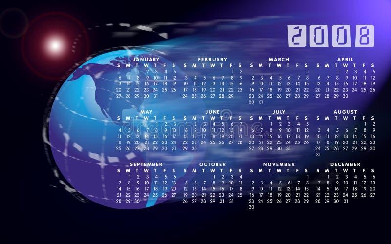 De bol of de wereld van de kalender 2008 royalty-vrije illustratie