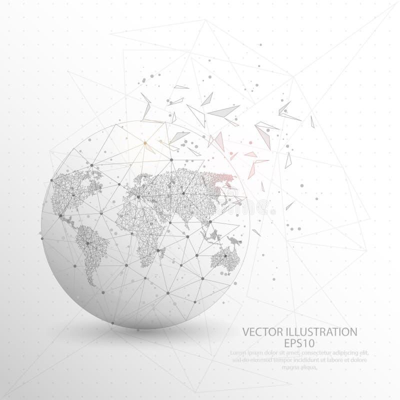 De bol digitaal getrokken van de wereldkaart het lage polykader van de driehoeksdraad vector illustratie