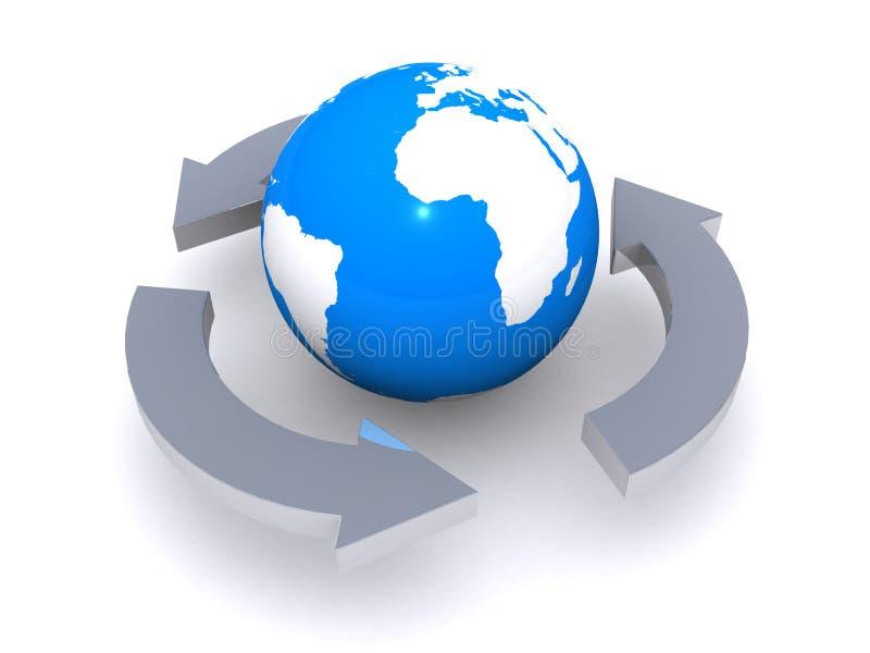 De bol en de pijlen van de wereld stock illustratie
