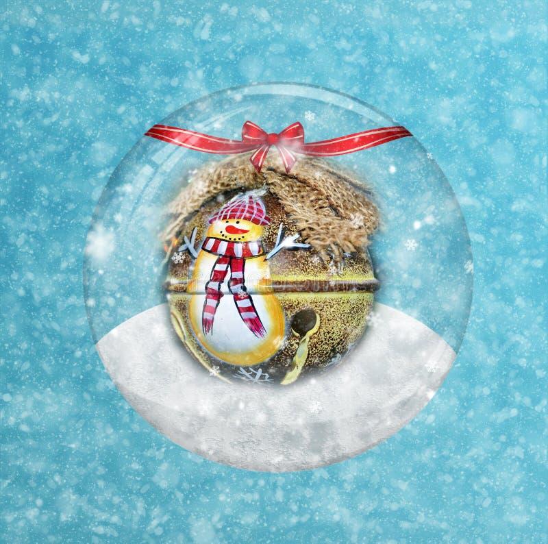 De bol en de Sneeuwvlok van de Kerstmissneeuw stock foto's