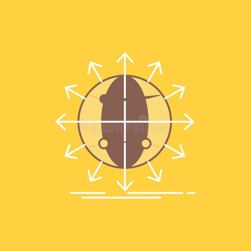 de bol, netwerk, pijl, nieuws, Vlakke Lijn wereldwijd vulde Pictogram Mooie Embleemknoop over gele achtergrond voor UI en UX, web stock illustratie