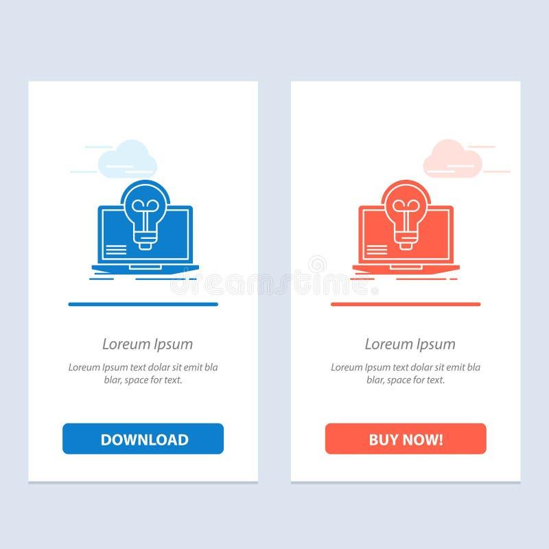 De bol, Succes, Laptop, het Scherm, dient Blauwe en Rode Download in en koopt nu de Kaartmalplaatje van Webwidget stock illustratie