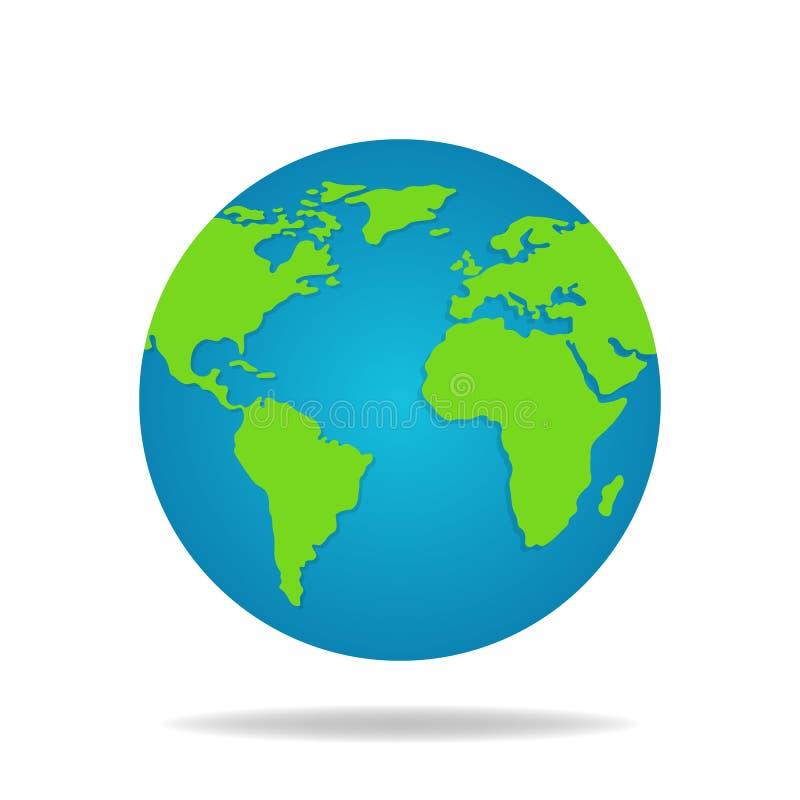 De Bol van de aarde die op Witte Achtergrond wordt geïsoleerd De kaart van de wereld Het pictogram van de aarde Vector illustrati royalty-vrije illustratie