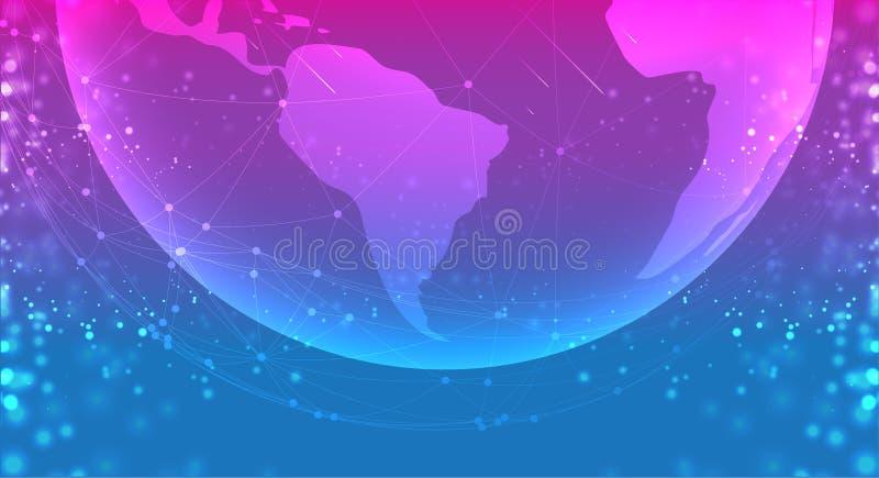 De bol van de aardeplaneet in het ruimte purpere blauw de lijnsamenstelling van verbindingensystemen rond aardeconcept royalty-vrije illustratie
