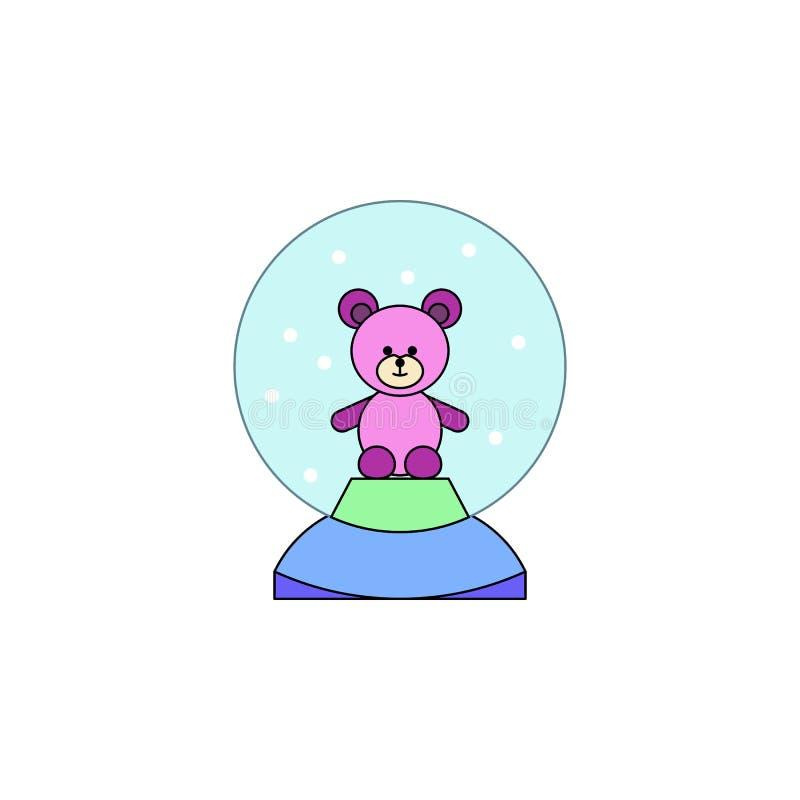 De bol van de beeldverhaalsneeuw draagt stuk speelgoed gekleurd pictogram De tekens en de symbolen kunnen voor Web, embleem, mobi vector illustratie