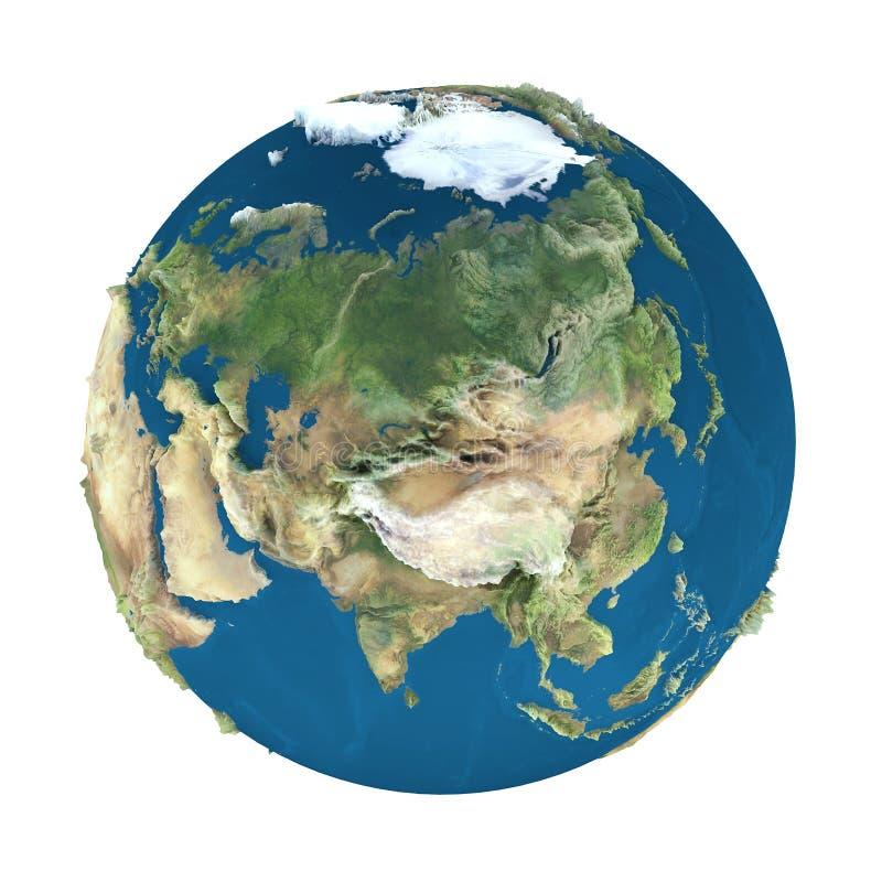 De bol van de aarde, die op wit wordt geïsoleerd vector illustratie