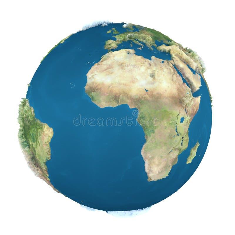 De bol van de aarde, die op wit wordt geïsoleerdv stock illustratie