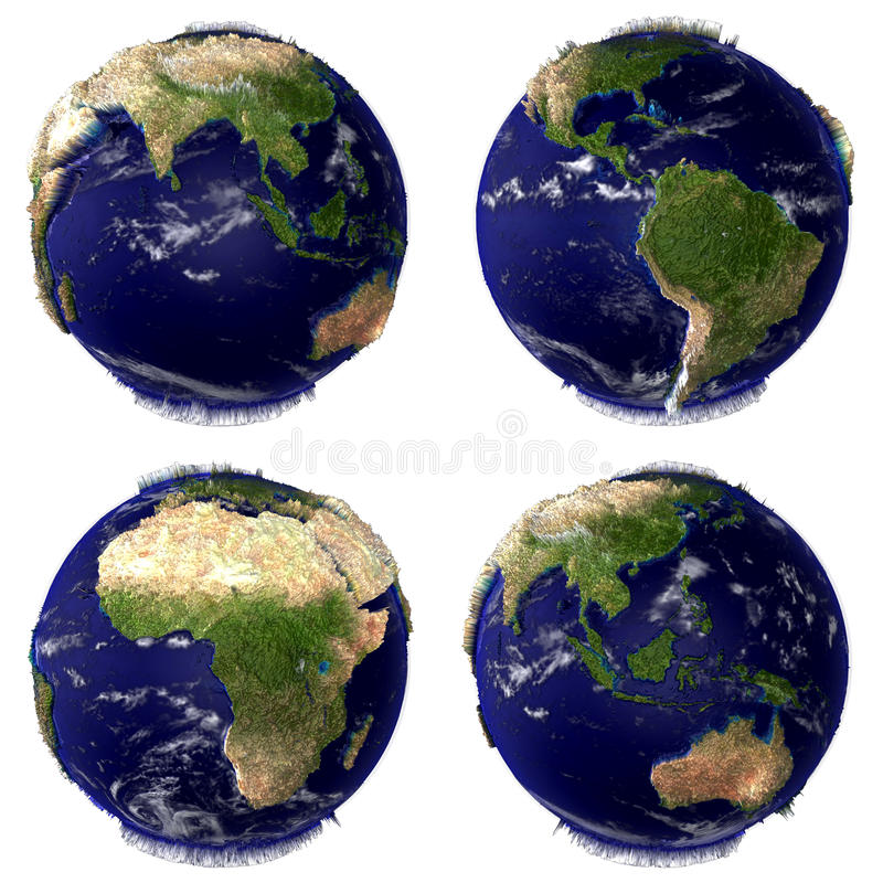 De Bol van de aarde die op Witte Achtergrond wordt geïsoleerd royalty-vrije illustratie